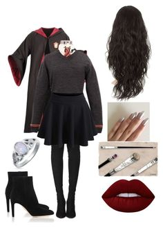 """Sylvie Gryffindor outfit"" by graytulip on Polyvore featuring Tamara Mellon, Lime Crime, Bling Jewelry and Gianvito Rossi"