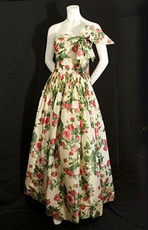 Hannah Troy evening gown, circa 1960.  Made from ivory watered silk taffeta printed with bouquets of roses.