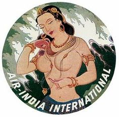 Air India 1950's Vintage-Looking Souvenir Travel/Bumper Sticker Label Decal
