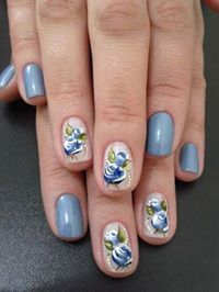 Different but nice Blue Flowers, Nails, Beauty, Pictures, Gel Nail, Manicure, Blue Nails, Heaven, Photos