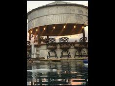 Farm Grain Bin Silo Converted into Outdoor Kitchen / Bar Justin Texas pool backyard Backyard Pavilion, Backyard Bar, Backyard Landscaping, Patio Bar, Silo House, Farm House, Grain Silo, Outdoor Kitchen Bars, Kitchen Tiles Design