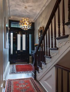 Love the entry way/lighting/wall effects: 1832 Greek Revival Brownstone Greek Revival Architecture, Interior Architecture, Interior And Exterior, Interior Design, Love Your Home, My Dream Home, Style At Home, New York Homes, New Homes