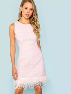 To find out about the Faux Feather Embellished Sleeveless Tweed Dress at SHEIN, part of our latest Dresses ready to shop online today! 1960s Fashion, Pink Fashion, Women's Fashion Dresses, Timeless Fashion, Fashion Edgy, Mommy Fashion, Casual Mom Style, Mommy Style, Rosa Style