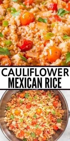 Mexican Cauliflower Rice skillet Recipe, quick and easy and a perfect healthy keto low carb side dish! also paleo and whole gluten free cauliflower rice recipe. Rice Recipes For Dinner, Side Dish Recipes, Mexican Food Recipes, Mexican Side Dishes, Low Carb Side Dishes, Cauliflower Mexican Rice, Healthy Cauliflower Recipes, Healthy Mexican Rice, Riced Broccoli Recipes