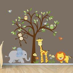 Nursery wall decal tree with branch owls,birds,elephant,bear ...