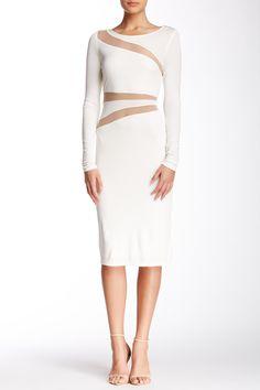 A.B.S. by Allen Schwartz | Mesh Inset Long Sleeve Dress | Nordstrom Rack