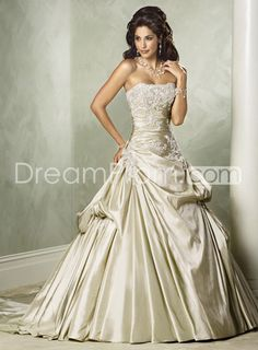 Fashion A-Line Strapless Sleeveless Embroidery Chapel Color  Wedding Dresses