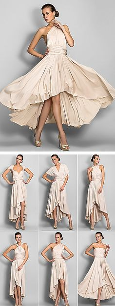 Convertible bridesmaid dress. This dress can off the shoulder, sweetheart neck with cap sleeves, v-neck with batwing sleeves, crisscross halter, knotted halter and strapless. Every bridesmaid can find her perfect shape while maintaing cohesion in the bridal party! It's incredibly affordable and comes in pearl pink, black, ruby, chocolate and navy.