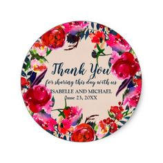 Personalized Red Floral Thank You Wedding Sticker - chic design idea diy elegant beautiful stylish modern exclusive trendy
