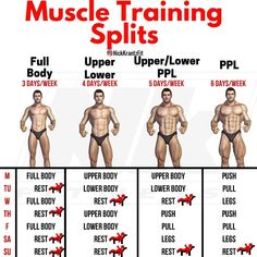 The Essential Multi-joint Exercises & Training Splits That Will Get You Ripped Depending on what truly fits your schedule, lifestyle, & preference, whether you're a beginner or advanced, one of these training options. Gym Workout Chart, Gym Workout Tips, Workout Schedule, Workout Fitness, Trainer Fitness, Workout Days, Push Pull Workout Routine, Push Pull Legs Workout, Workout Trainer