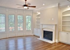 Fireplace with bookcase