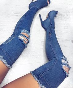 Cheap thigh high boots, Buy Quality knee boots directly from China over knee boots Suppliers: 2017 newest blue denim cutout long boots peep toe high heels sexy woman over the knee boots high quality shoes thigh high boots High Heels Boots, Open Toe High Heels, Sexy Boots, Thigh High Boots, Knee Boots, Heeled Boots, Bootie Boots, Shoes Heels, Stiletto Heels