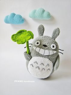 ~~~~~~~~ PDF PATTERN ONLY ~~~~~~~~~ Easy and fun to make! Suitable for kawaii purposes, decoration or as a gift for someone special! Size: Totoro is approximately 19 cm height Lotus Leaf is approximately 8 cm height Blue Cloud is approximately 11 cm width (Size depending on the yarn and hook size you are using and how you stuffed) Skill level: You have to know basic crocheting skills like slip stitch, single crochet, half-double crochet, double crochet, triple crochet, ability to change c...
