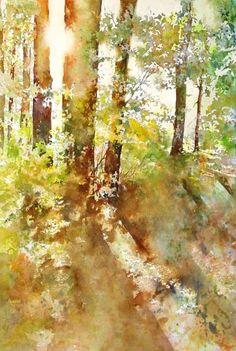 Watercolor - Peeping Sun by Marlene Gremillion Art Aquarelle, Watercolor Trees, Watercolor Artists, Watercolor Techniques, Watercolor Landscape, Watercolor And Ink, Watercolour Painting, Landscape Art, Landscape Paintings