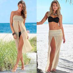 Only US$8.09, beige Sexy Crochet Hollow out Meshy Boho Bikini Dress - Tomtop.com