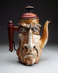 Unhappy Teapot Face Jug pottery folk art raku sculpture by Grafton