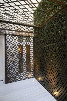 Laser cut screens - Knightsbridge, London - Courtyard pergola - Weave design by Miles and Lincoln. www.milesandlincoln.com