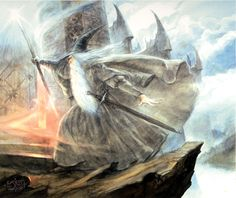 The Lord of the Rings - John Howe Art - Gandalf Attacks Dol Guldur