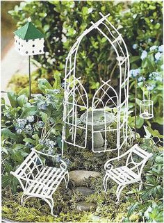 Fairy Garden Starter Kit Willow White  ~ available on Amazon via JoySavor  http://joysavor.com/product/fairy-garden-willow-miniature-fairy-garden-starter-set/