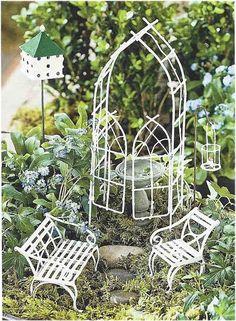 Fairy Garden Starter Kit Willow White  ~ available on Amazon via JoySavor  http://joysavor.com/product/fairy-garden-willow-miniature-fairy-garden-starter-set/