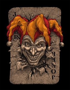 Joker on Behance Art Du Joker, Le Joker Batman, Joker Clown, Joker Playing Card, Playing Cards Art, Joker Drawings, Dark Art Drawings, Tatouage Jester, Hahn Tattoo