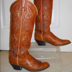 Acme Cognac Leather Cowboys boots Euc, these are broken in already and made with genuine leather which means these guys will lasted you FOREVER. They're too small for me-- I'm an 8-- so please feel free to make an offer! Free People Shoes Heeled Boots