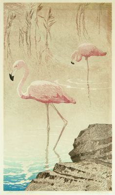 """Aleksander Laszenko (Polish: 1883 - 1944): The Wading Flamingos; color woodcut; 1934; pencil signed; edition size not stated; printed on ivory wove paper; 16-5/8 x 9-5/8"""" image size."""