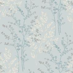 Fern Motif Teal Wallpaper