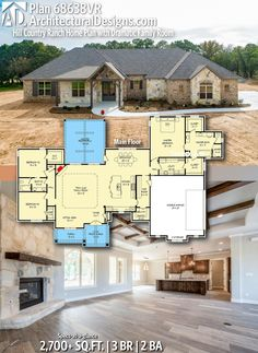 Architectural Designs Hill Country Home Plan 68368VR gives you 3 bedrooms, 2 baths and 2,700+ sq. ft. Ready when you are! Where do YOU want to build? #68368VR #adhouseplans #craftsman #hillcountry #architecturaldesigns #houseplans #architecture #newhome #newconstruction #newhouse #homeplans #architecture #home #homesweethome