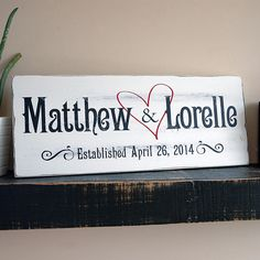 Wedding Gifts Diy Family Established Sign with Heart, First Name Last Name Sign, Est. Sign, Rustic Wood Sign Finish - Family established signs by Jetmak Studios are the Last Name Signs, Family Name Signs, Rustic Wood Signs, Wooden Signs, Established Family Signs, Wedding Signs, Wedding Ideas, Wedding Plaques, Wedding Backdrops