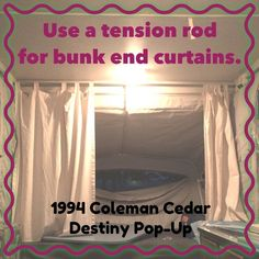 """Tension Rod to replace """"C"""" clips in 1994 Coleman Cedar Destiny Pop-Up. The length is approx. 77"""". I used the shepherd hook brace to hold up the center of the rod. Works like a charm. Easy to take out to clean curtains. Used tab-top canvas curtains for bunk ends.  1994 Coleman by Fleetwood Cedar Destiny Pop-Up camper curtain mod redo diy"""