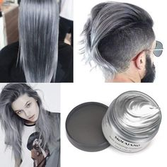 HailiCare Silver Grey Hair Wax oz, Professional Hair Pomades, Natural Silver Ash Matte Hairstyle Wax for Men Women Silver Ash Hair, Grey Hair Wax, Ombre Rose Gold, Pelo Color Plata, Wax Man, Ombre Blond, Dyed Hair Pastel, Temporary Hair Color, Hair Pomade