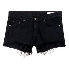 Rag & bone/jean 'Cut Off' frayed denim shorts (€185) ❤ liked on Polyvore featuring shorts, black, destroyed denim shorts, denim shorts, cuffed jean shorts, summer shorts and distressed shorts