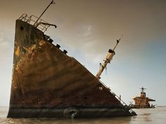 An abandoned oil tanker in the Persian Gulf.  National Geographic.