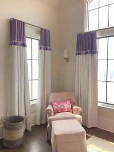 Custom Banded Drapery Panels with Trim - Decor Style Drapes And Blinds, Home Curtains, Drapery Panels, Velvet Curtains, Cortinas Country, Rideaux Design, Diy Home Decor, Room Decor, Atlanta Homes