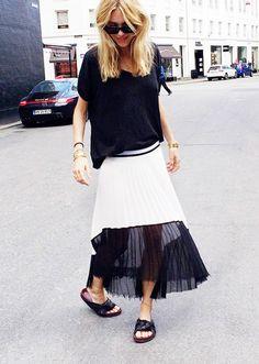 On Pernille Teisbaek of Look De Pernille: Acne Wonder Linen T-Shirt ($120) in Black; Zara skirt; Céline sandals and sunglasses. @WhoWhatWear