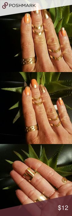 Adorable Aztec 3 ring set Gold plated adorable chic Aztec style 3 ring set. Rings are a size 6 and 7 and 1 knuckle ring. Seem to be adjustable for 1 size up. I love these ;)!! Jewelry Rings