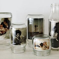 pot en verre = cadre photo old jars = photo frames Mason Jars, Bottles And Jars, Glass Jars, Glass Canisters, Pots Mason, Soda Bottles, Clear Glass, Baby Food Jars, Food Baby