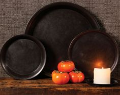 Chester Sturdy Metal Waxed Trays, Set of 3