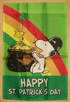Peanuts Snoopy & Woodstock .... Happy St. Patrick's Day.... Garden Flag . $14.00. Release 2012 ; Great flag to add to your Snoopy collection . We offer prompt First Class delivery service which ships usually out to you within one business day and provide you with a tracking number to help track your order. We believe in Quick Responses and Great Service! Buy more than one item and pay only one shipping cost! Thanks for choosing us at Creative Selling!