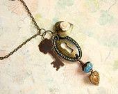 Antique Skeleton Key Necklace,Locket Necklace,Vintage Heart Necklace