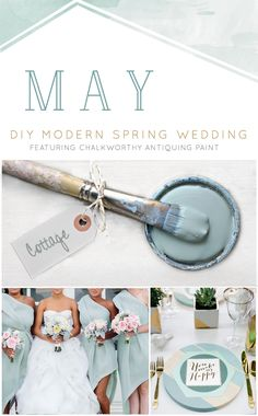 """If you want a lot of white for your wedding but need a hip accent color, """"Cottage"""" by @ChalkWorthy  will be there to assist! The pale blue-greens of """"Cottage"""" pair excellently with newer decor trends such as copper, marble, and the greens of succulents. Creating a high-end look with paint, allows you to add a personalized edge to your wedding decor without the limitations of price or basic market selections."""