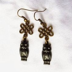 Celtic knot & owl earrings by Richarme Jewelry Designs