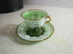 Glass Cup Saucer Set Actual Embossed Lace RARE Gold Trim Demitasse