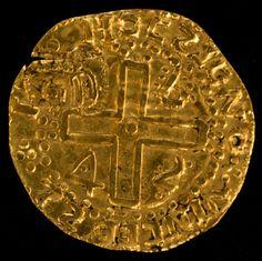 Numismática, Ano de 1642. Ouro, Portugal. Apresenta carimbo semelhante a coroado, porém não encontra
