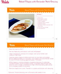 Baked Tilapia with Coriander Herb Dressing #recipe #fish #yummy