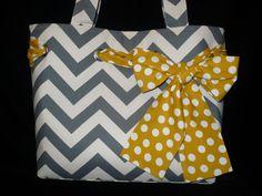 Gray Chevron Tote Bag Purse with Yellow Polka dot Bow, Handmade Shoulder bag, diaper bag. $65.00, via Etsy.