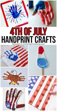 of July Kids Handprint Arts and Crafts Fun of July Crafts for Kids 4th July Crafts, Fourth Of July Crafts For Kids, Holiday Crafts For Kids, Patriotic Crafts, Crafts For Kids To Make, Projects For Kids, 4th Of July, Art For Kids, Kids Crafts