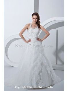 Satin and Tulle Halter Court Train A-Line Wedding Dress with Embroidered