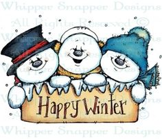 Happy Winter Snowmen - Snowmen Images - Snowmen - Rubber Stamps - Shop